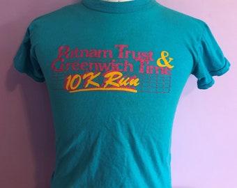 Vintage 80s T-Shirt Long Sleeve  10k Run Lodi California Made In Usa  XL Size Rare
