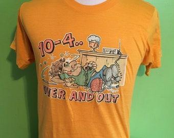 9fe8db4fc9b92 Vintage Cartoon Lion Mascot 1980s Yellow tee t shirt / 80s | Etsy