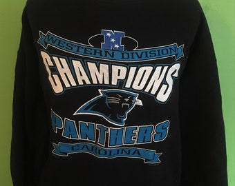 Vintage Carolina Panthers Lee Sport Western Division Champions NFL Football  1990s Sweatshirt   vintage nfl   football Sweatshirt XL 409f3275c