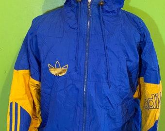 Veste de sport Adidas vintage des années 90 veste bleu blanc