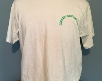Vintage Salmon Run Forest Park Oregon White 1980s tee t shirt / vintage clothing / 80s clothing XL