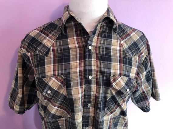 80s short sleeve pearl snap button down size large