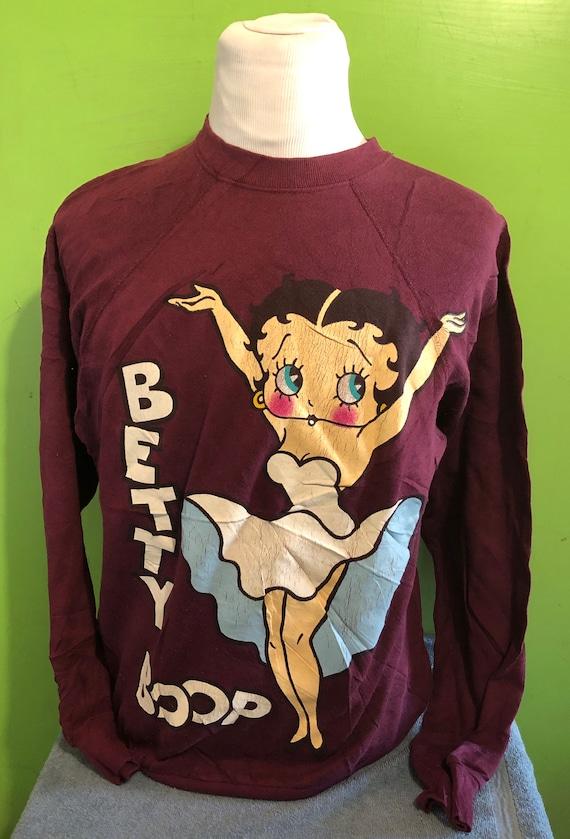 Vintage Betty Boop 1980s Cartoon Maroon Crewneck S