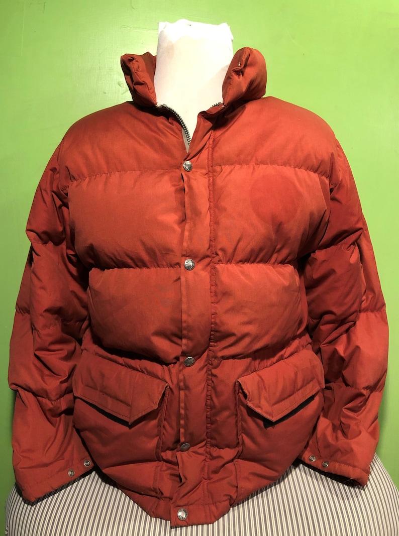 238643be4 Vintage 80s The North Face White Label Burnt Orange Puffy 1980s Winter Made  in the USA Jacket / vintage bomber ski jacket Medium