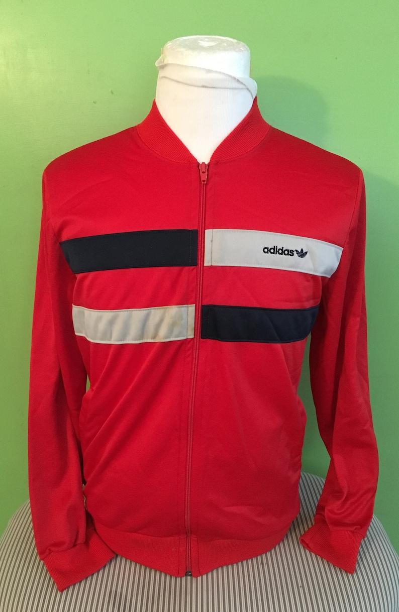 Vintage 1980's Adidas Trefoil Red Windbreaker | Size M