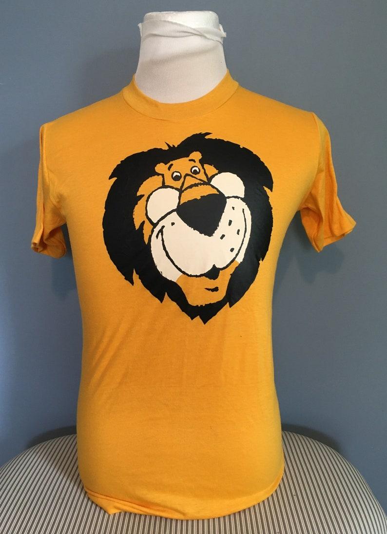 3038982900ff2 Vintage Cartoon Lion Mascot 1980s Yellow tee t shirt / 80s clothing /  throwback tee / vintage clothing Medium