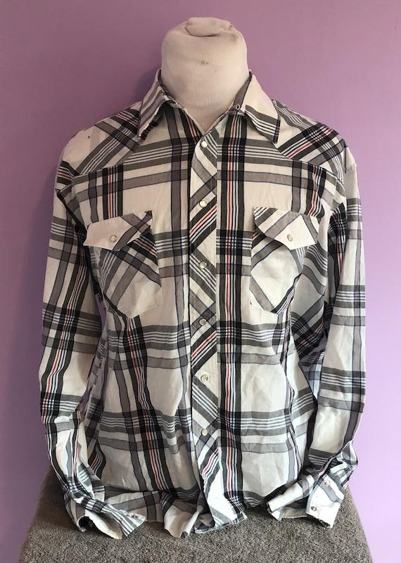 Medium Vintage 80s Wrangler Western Plaid Pearl Snap Shirt