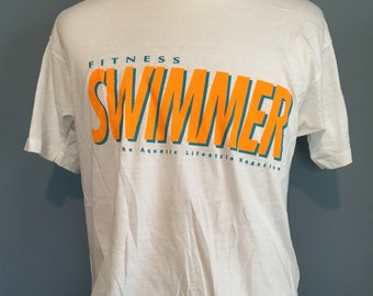 Vintage Fitness Swimmer Magazine 1980s t-shirt - 80s clothing - vintage clothing (XL)