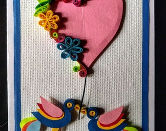 Handmade paper quilling Mother's Day card