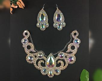 sparkly jewelry set jewelry gift bridal jewelry set Set of jewelry Janice ballroom set earring necklace set belly dance set
