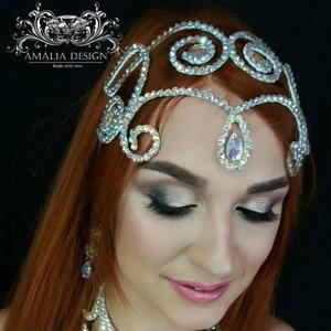Red and Orange Forehead Jewelry Headchain Bollywood Headpiece Belly Dance Tribal Silver Tikka Fire Tikka