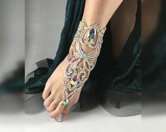 "Bracelet for the foot ""Debora"" by Amalia Design, ballroom bracelet, belly dance jewelry, ballroom jewelry, dance anklet, rhinestones anklet"