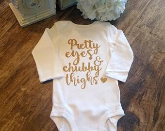 8bb627715716 Baby Girl Onesie Smash Cake Session 1st Birthday Pretty Eyes Chubby Thighs  Baby Shower Gift Newborn Baby