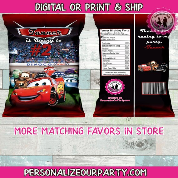 12 Cars Birthday Party Chip Bags Favor Treat Candy Gift Toys Lightning Mcqueen