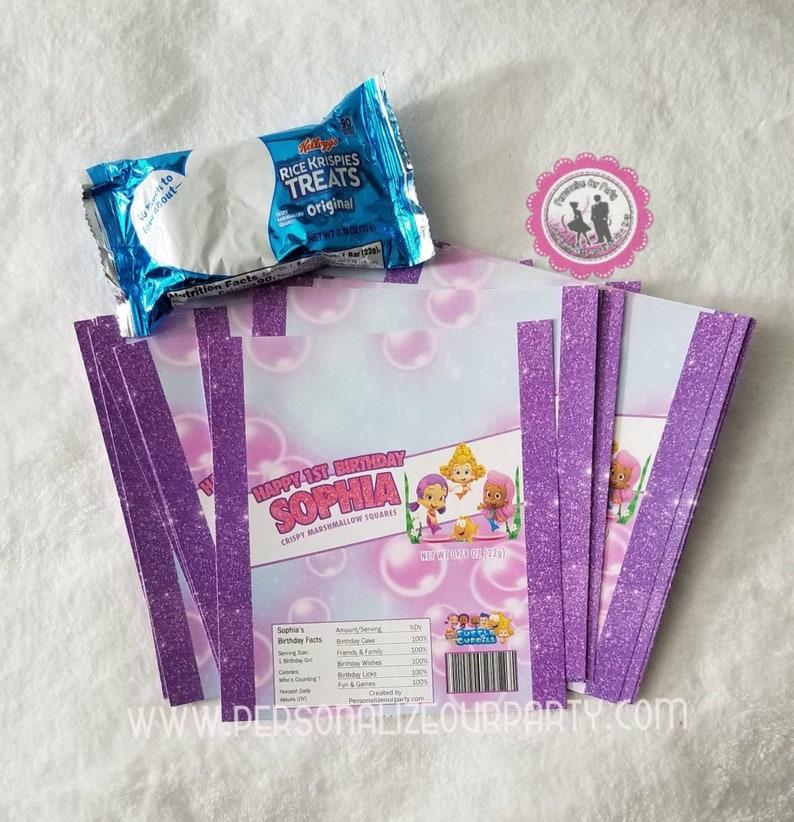 bubble guppie girls-rice krispy treat wrapper-digital-printed-bubble guppies party favors-bubble guppies party bag favors-custom party treat