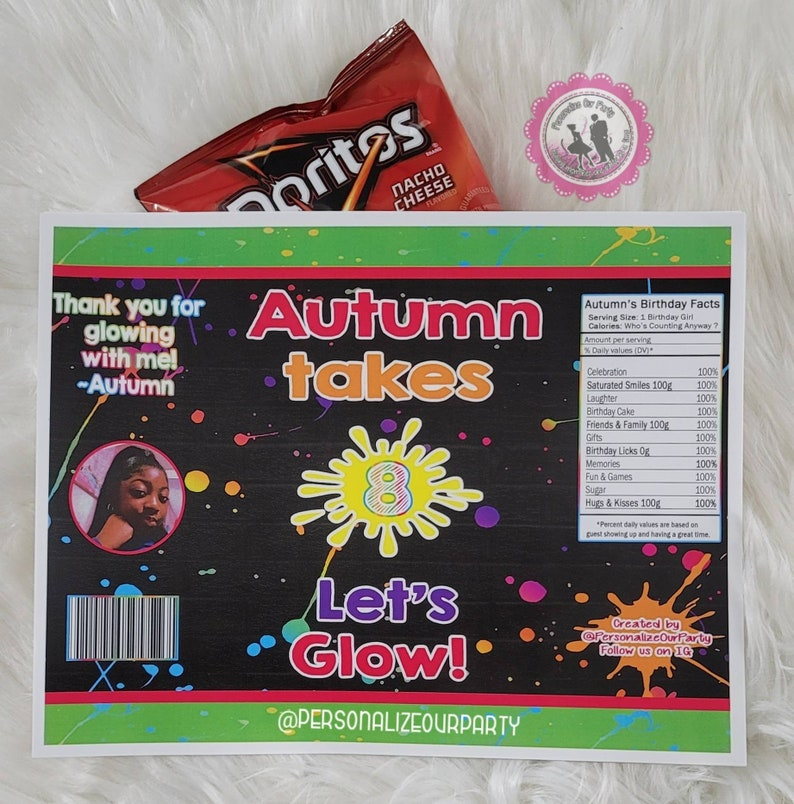 Glow party chip bag chip bag wrappers-glow party favors-glow party-slime party-glow in the dark party-glow party bags-slime party favors