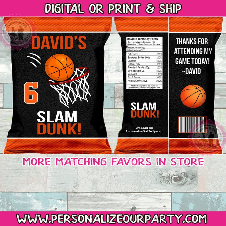 Basketball chip bagwrappers-basket ball party favors-basket ball party supplies-digital-print-basket ball birthday-basketball party decor