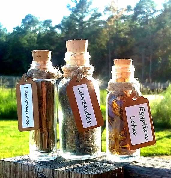 Mini Apothecary Herb Bottles Organic Botanical Vials Wicca Decor Altar Gift