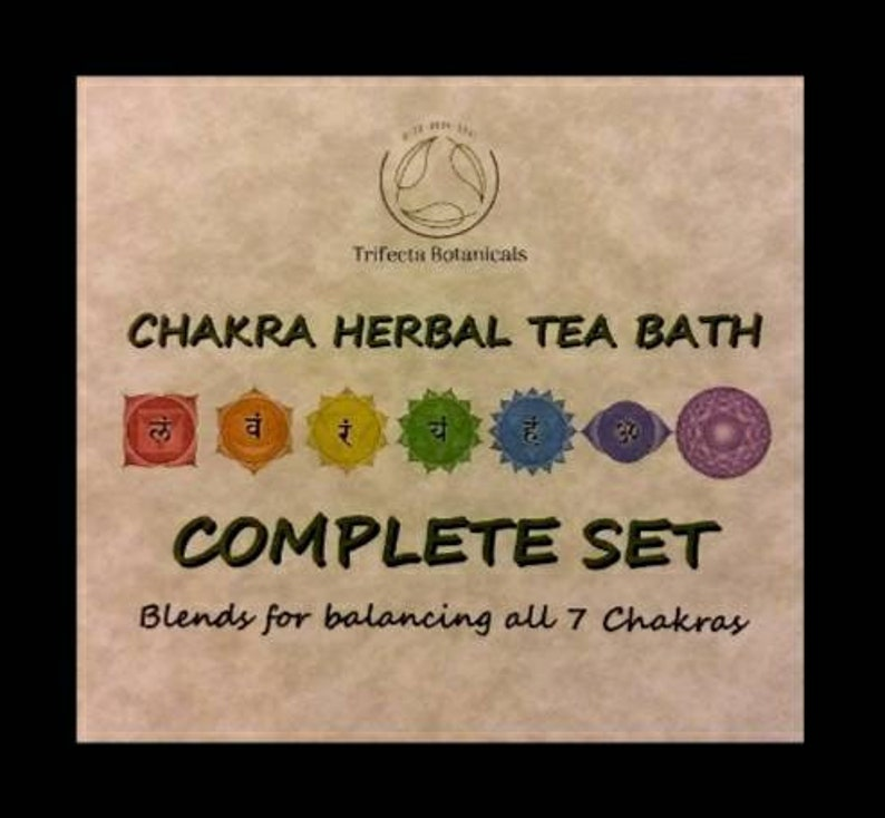 Chakra Herbal Tea Bath - COMPLETE SET * Balancing All 7 Chakras Healing  Herbs Natural Apothecary Organic Botanicals Yoga Reiki Ritual Bath