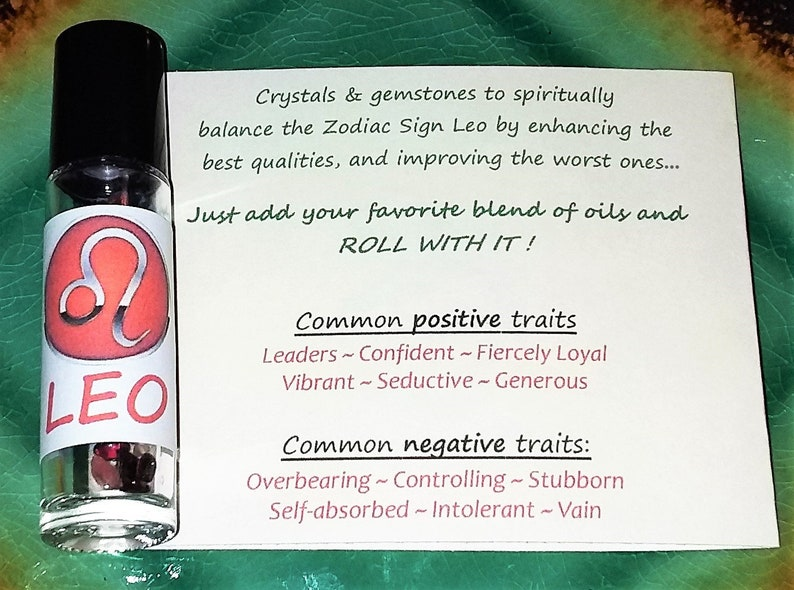 LEO Zodiac Crystal Roller Bottle - Leo Gift Astrology Gemstones - Zodiac  Sign Stones for Essential Oils July August Birth Stones Wicca
