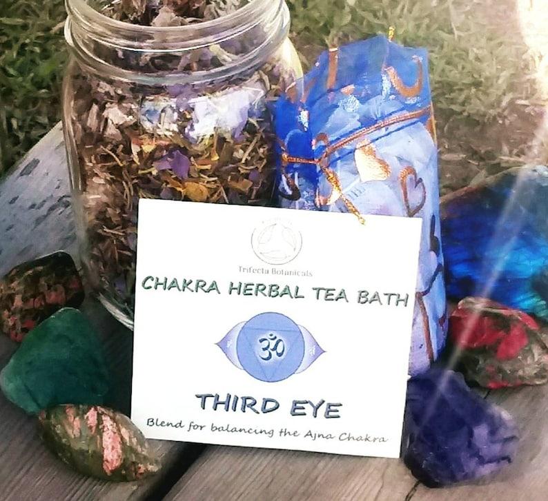 THIRD EYE Chakra Herbal Tea Bath * Ajna Yoga Balancing & Sixth Chakra  Healing Herbs Natural Apothecary Organic Botanicals Reiki Ritual Bath