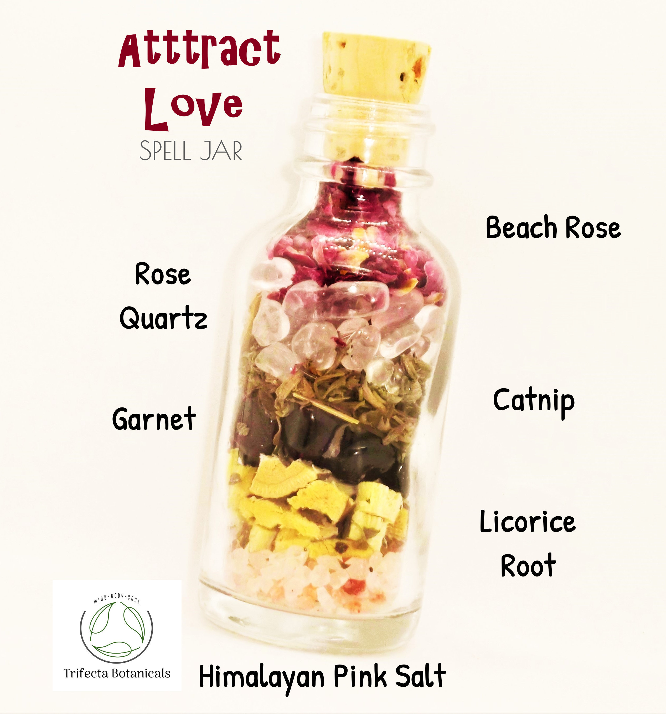 ATTRACT LOVE Spell Jar of Crystals + Herbs + Salt // Intention Bottle for  Candles Mojo Bag Wicca Rituals Spiritual Altar Manifestation