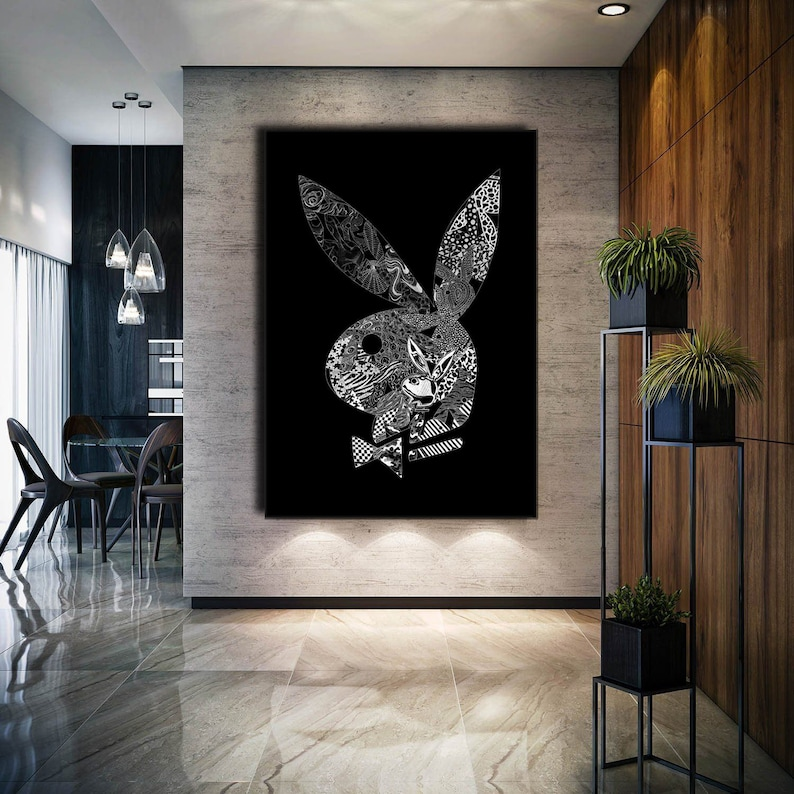 Playboy sign art on canvas, Giclee modern wall art motivation decor, playboy wall art