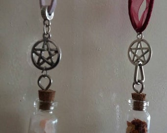 Handmade pentacle/wicca necklace with vial
