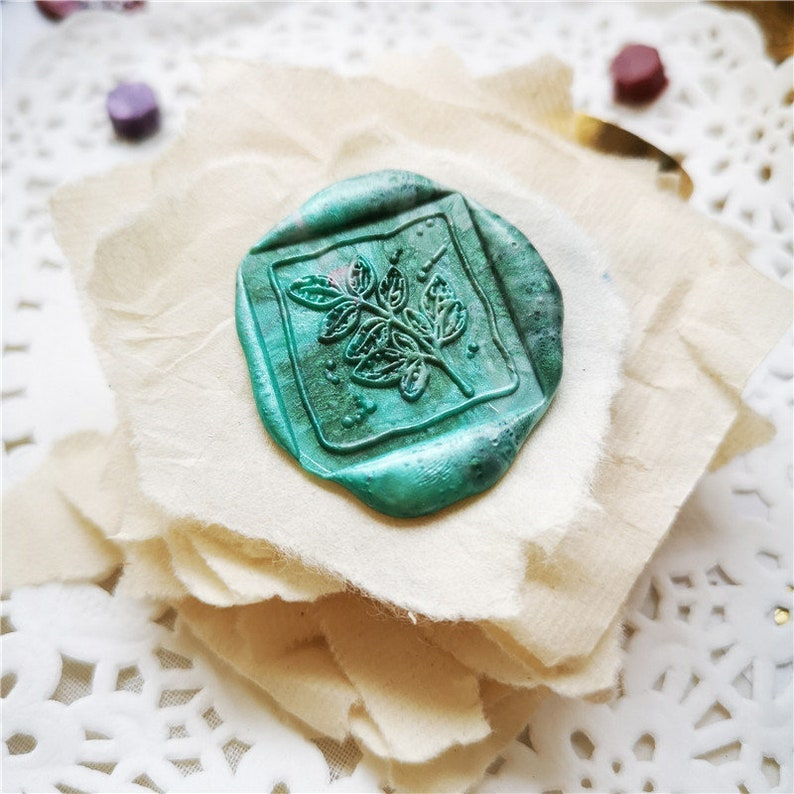 Sealing wax stamp Style 322 Square leaf flower plant Wax Seal Stamp sealing stamps for DIT envelop seals wedding decoration wax stamp