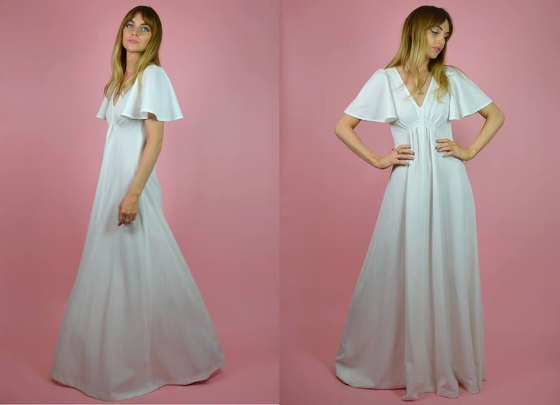 Vintage 1970s White Ephemeral Floaty Bohemian WEDDING Dress w/ image 0