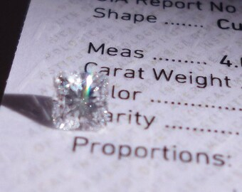 0.34 Carat D 0.0 VS2 4 Square Radiant GIA Certified Loose Natural Diamond - Not Princess Polished!