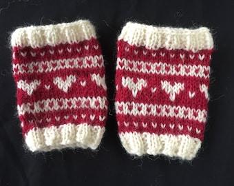Lovely Red Heart Woollen Wrist Warmers