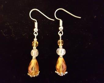 Yellow/Orange Beaded Earrings