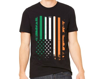 MEN'S SHIRT Distressed Ireland USA Flag | American Irish Flag | Saint Pattys Day T-Shirt | Saint Paddys Day Tee Shirt | St. Patrick's Day
