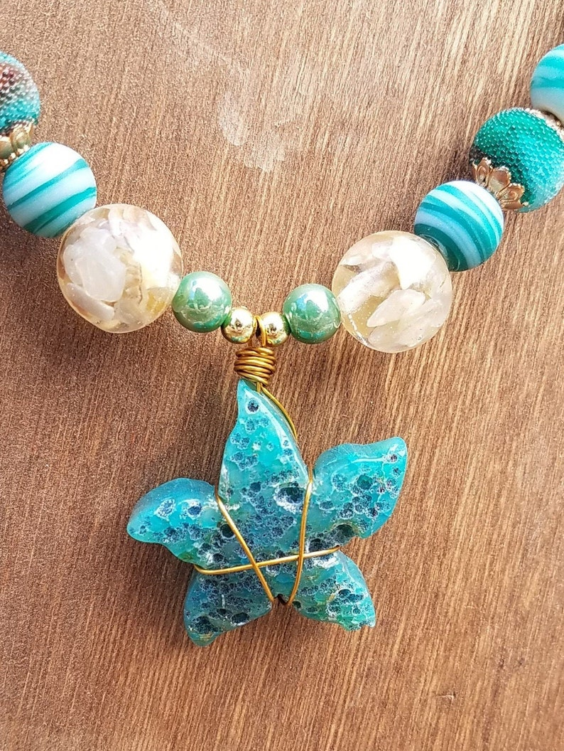 Blue Agate Starfish Seafoam Green and Blue Chunky Beads image 0
