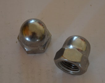 Package of 3/8 x 24 Acorn Cap Nut, stainless steel, fine thread, hex head, Qty 50