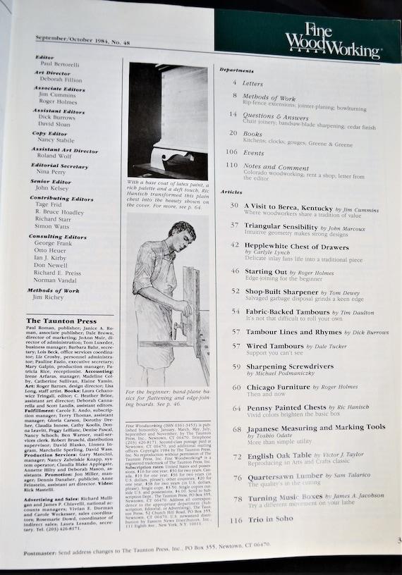 Fine Woodworking Magazine September October 1984 Wood Craft Design Pattern Instruction