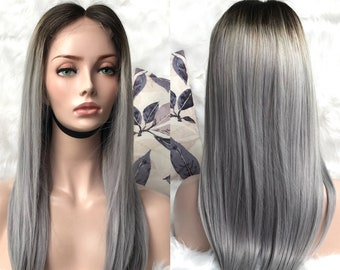 9d21edd9f 2tone 1b/grey hair wig black roots gray human hair wigs lace frontal wigs  pre-plucked hair full lace wigs glueless women wigs 360 lace wigs