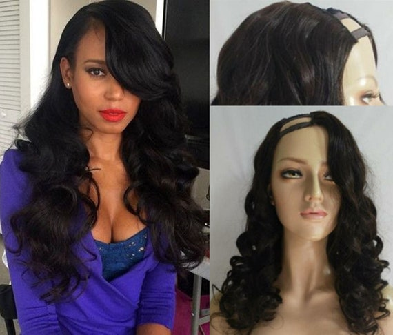 U Part Wig Brazilian Hair Wigs Body Wave With Side Bang Human Etsy
