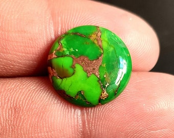 AAA+++Top Quality 10.35Cts Hand Made Smooth Cabochon Copper Turquoise Gemstone Natural Green Copper Turquoise Size 19X14X4.5 MM JJ4773