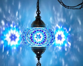 "FREE SHIP 7"" Turkish Moroccan Mosaic Hard Wired OR Swag Plug In Hanging Ceiling Lantern Lamp Pendant Light Fixture Lighting 7"" Dia. Blue"