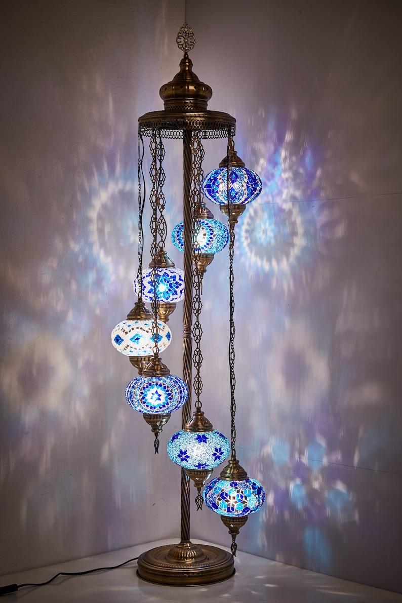 55 US Plug /& Socket 7 Big Globes Turkish Moroccan Mosaic Floor Night Lamp Light Lampshade