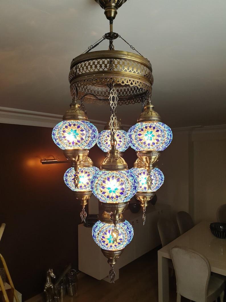 3b755303c4d5e FREE SHIP 7 Globes Turkish Moroccan Mosaic Hanging Ceiling Lantern Lamp  Pendant Light Fixture Chandelier Lighting, WorldWide Use BLUE
