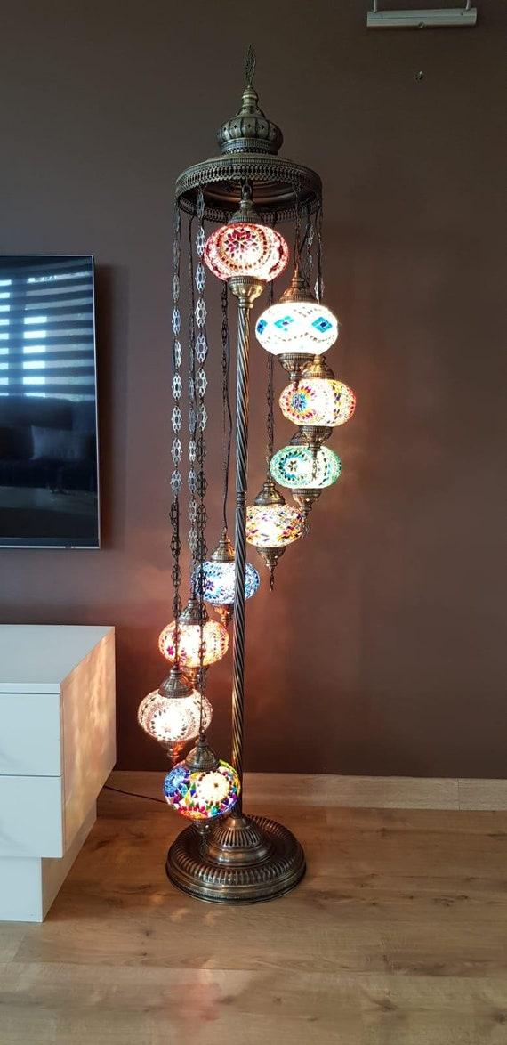 CUSTOMIZABLE 6feet 9 BIG Globes, Turkish FLOOR Lamp, Turkish Moroccan Mosaic Floor Lamp Light Bohemian Tiffany Floor Lamp, Usa Plug