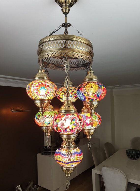 WorldWide Use BLUE FREE SHIP 7 Globes Turkish Moroccan Mosaic Hanging Ceiling Lantern Lamp Pendant Light Fixture Chandelier Lighting