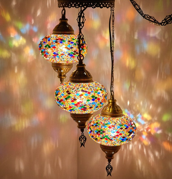 FREE SHIP Turkish Moroccan Mosaic Hard Wired OR Swag Plug In Hanging Ceiling Lamp Pendant Light Fixture Lighting Chandelier 3 Big Globes