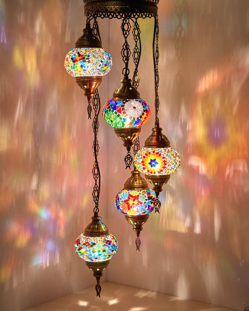 c1548c1a5b47a FREE SHIP Turkish Moroccan Mosaic Hard Wired OR Swag Plug In Hanging  Ceiling Lamp Pendant Light Fixture Lighting Chandelier 5 Globes