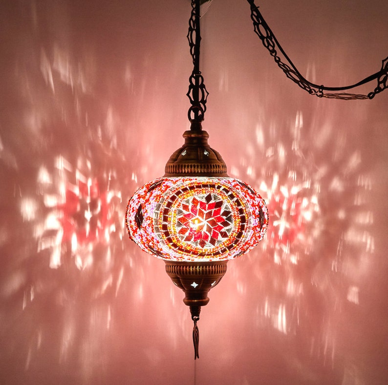 e0e1071ec7210 Hard Wired OR Swag Wall Plug In Turkish Moroccan Mosaic Hanging Ceiling  Lantern Lamp Pendant Light Fixture Lighting 7