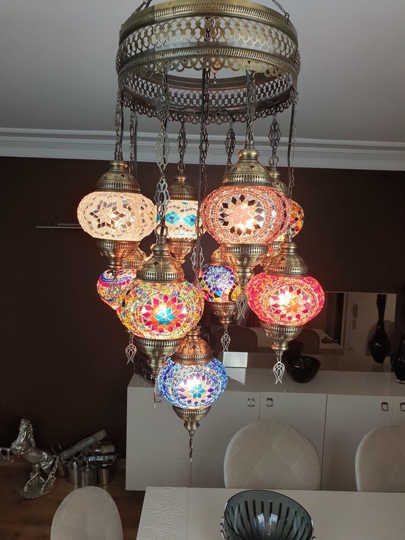 9 Globes Turkish Moroccan Mosaic Hanging Ceiling Lamp Pendant Etsy
