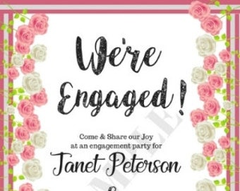 We're Engaged Printable Invitations DIY Party Supplies